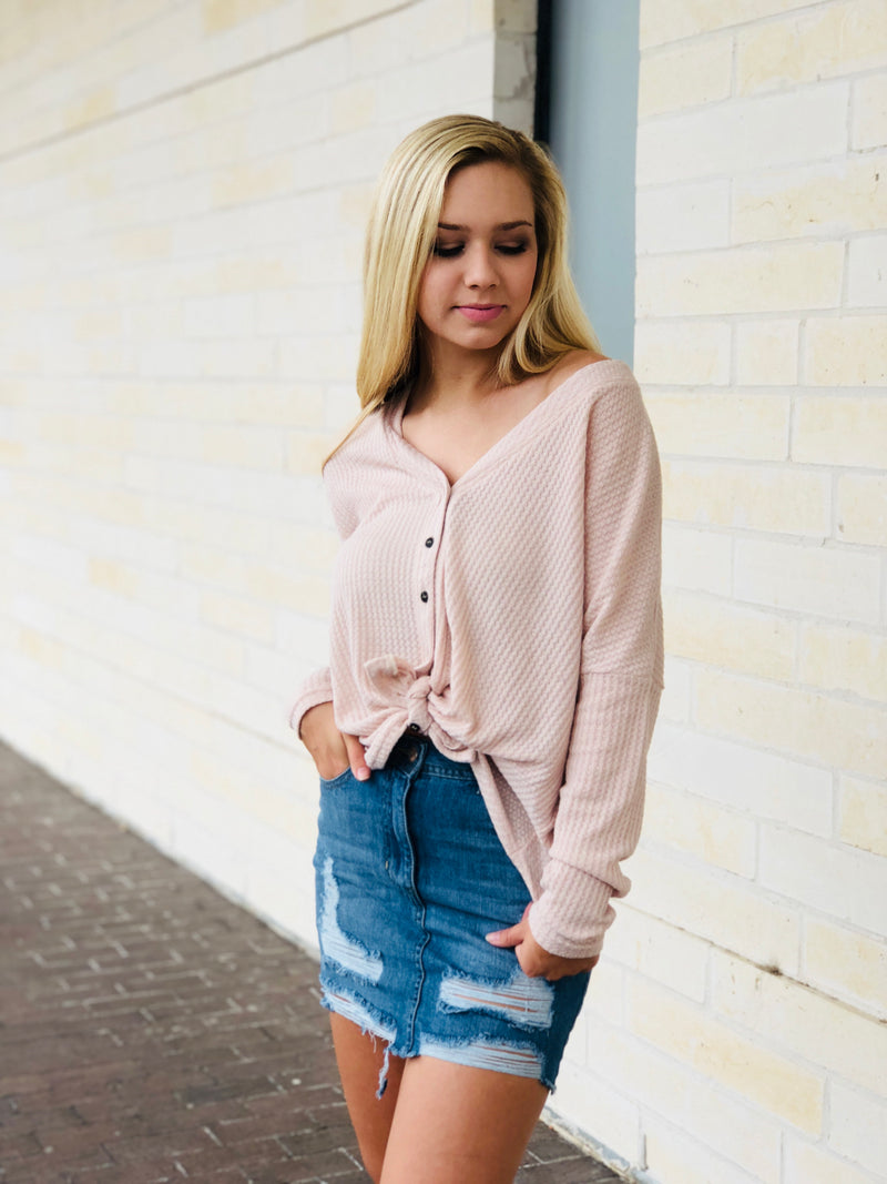 Thermal Knit Button Up Top - Taupe