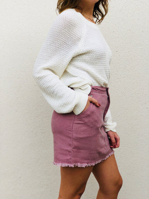 Mauve Frayed Skirt