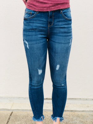 Medium Wash Distressed Fray Jeans