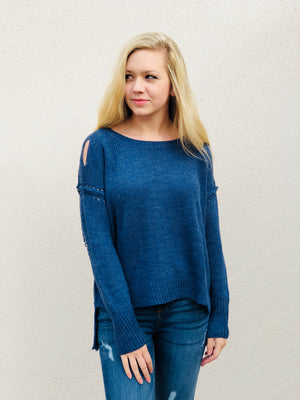 Blue Distressed Knit Sweater