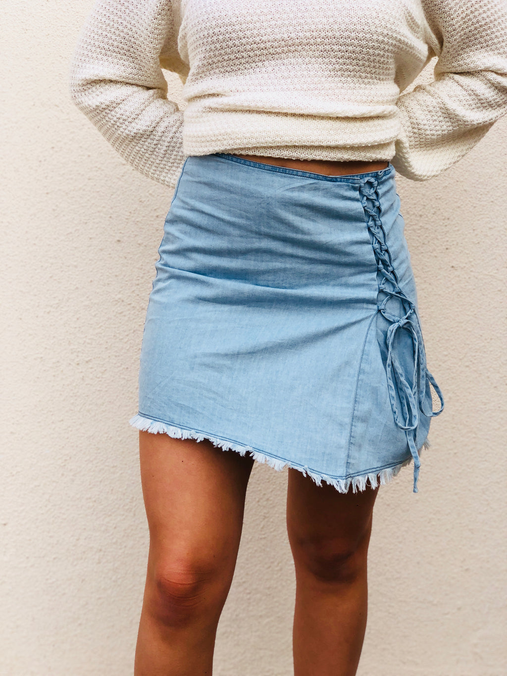 Asymmetrical Chambray Lace Up Skirt