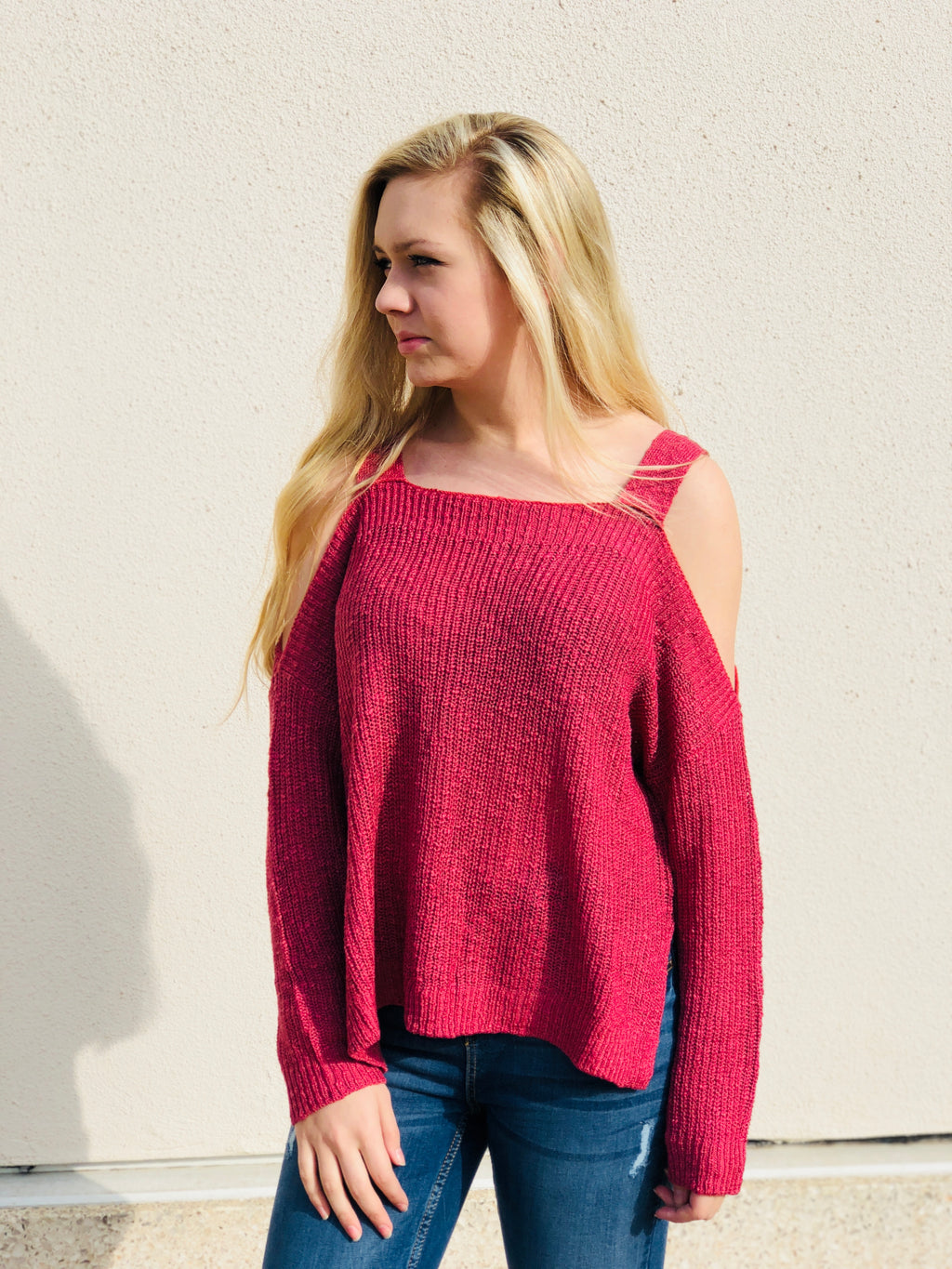 Raspberry Cold Shoulder Sweater