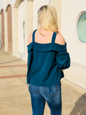 Teal Green Cold Shoulder Top