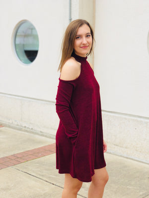 Wine Open Shoulder Halter Dress