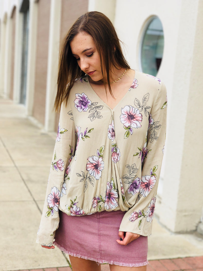 Taupe Floral Top