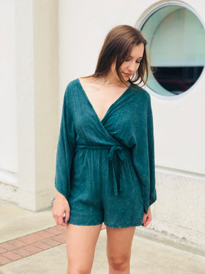 Hunter Green Tie Romper