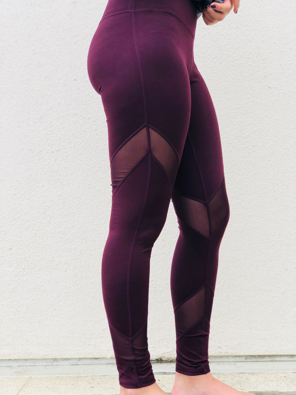 Maroon Mesh Panel Leggings