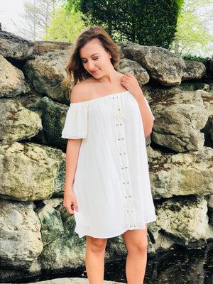 Cream Off The Shoulder Lace Up Dress