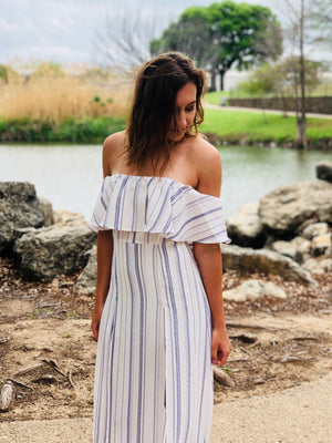 Striped Off The Shoulder Romper Dress