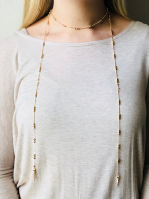 Beaded Gold Wrap Necklace