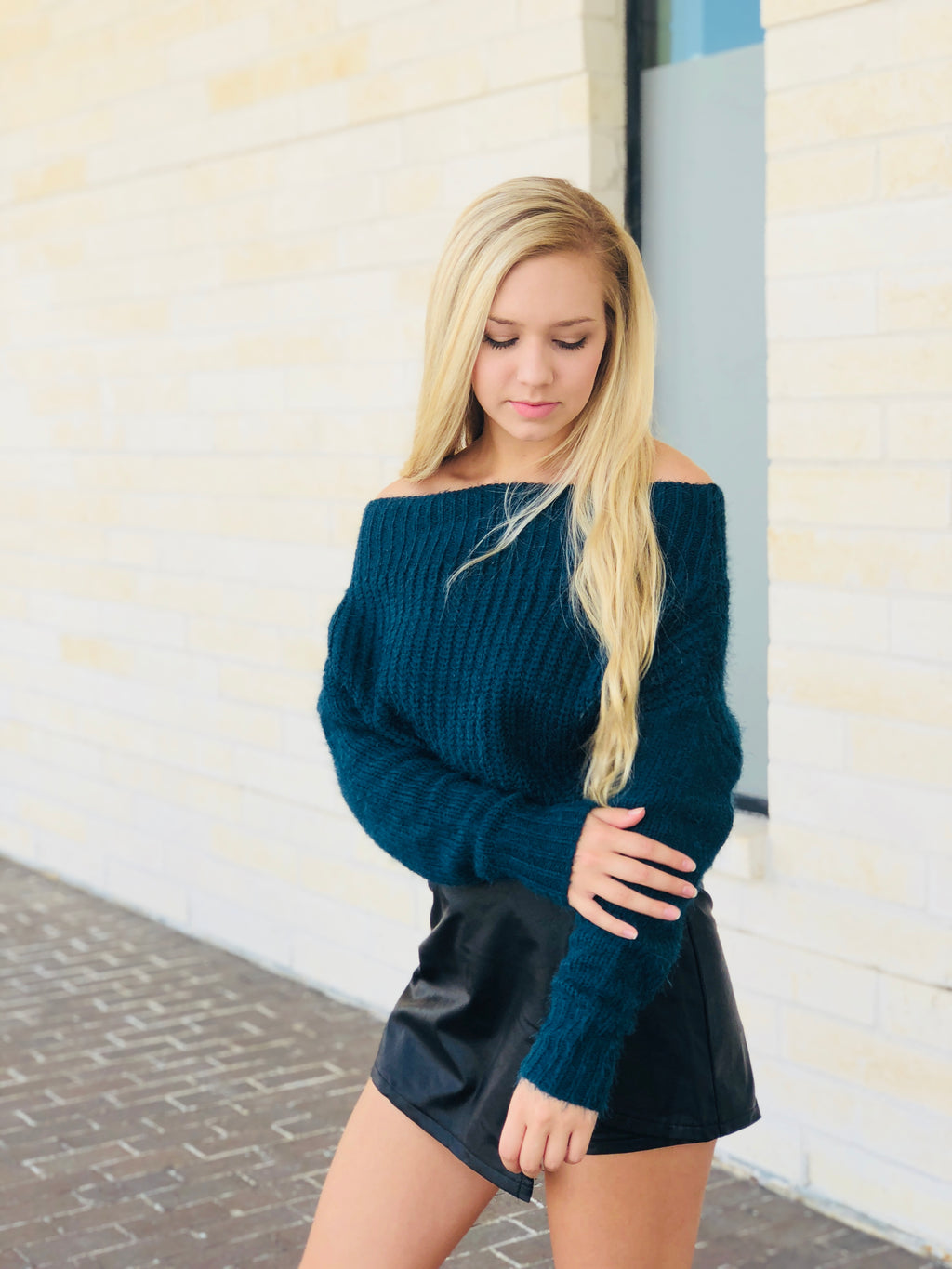 Chunky Off The Shoulder Fuzzy Sweater - Teal