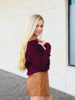 Chunky Off The Shoulder Fuzzy Sweater - Burgundy