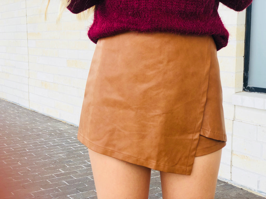 Faux Leather Skort - Camel