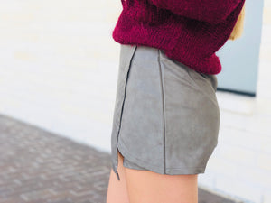Faux Leather Skort - Mocha