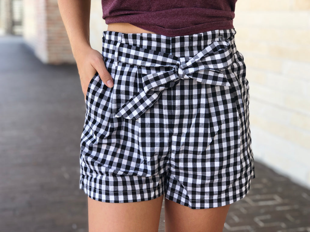 High Waisted Gingham Shorts