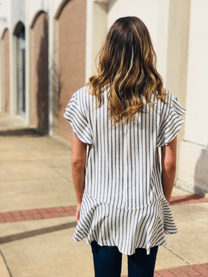 Stripe Ruffle Shift Top