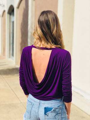 Plum Swoop Back Top