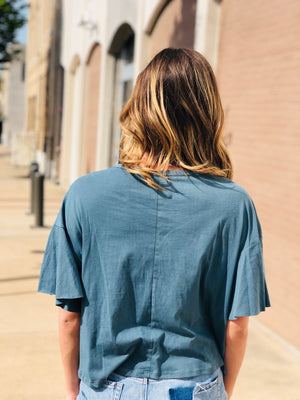 Teal Wash Ruffle Top