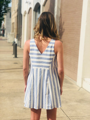 Indigo Stripe Pocket Dress