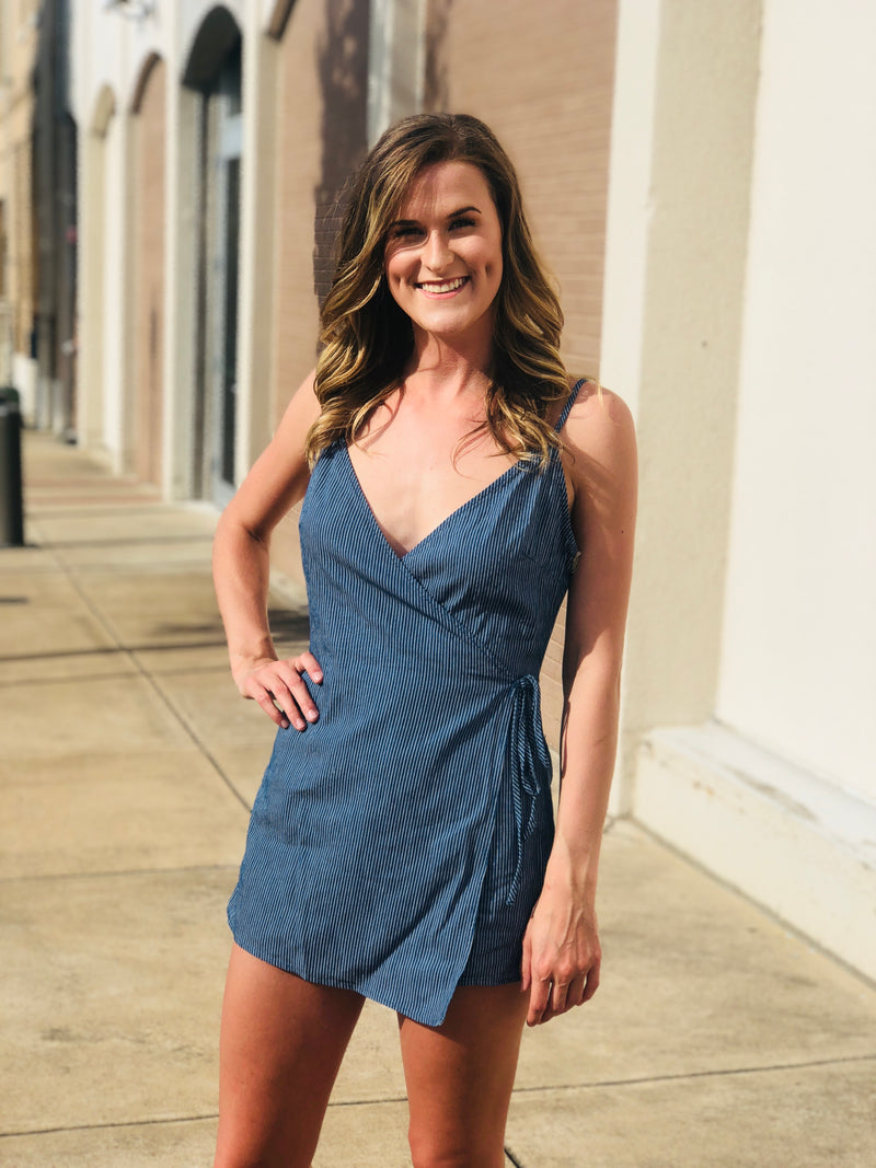 Navy Stripe Wrap Romper