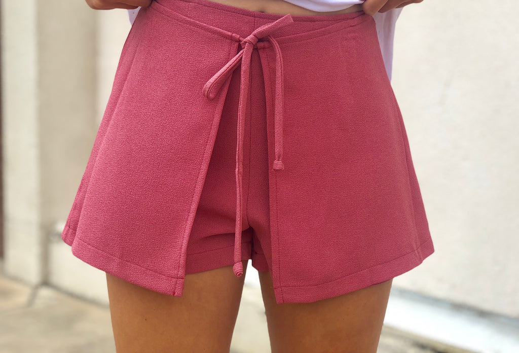 Mauve Front Tie Layered Shorts