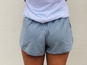 By The Beach Striped Shorts - Blue