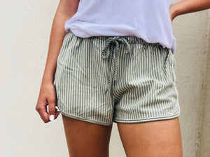 By The Beach Striped Shorts - Olive