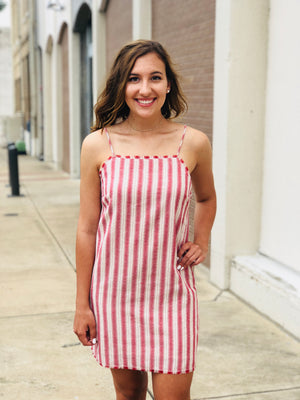 Stripe Rust Tie Back Dress