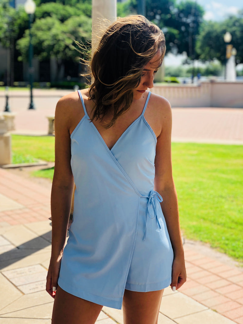 Light Blue Wrap Romper