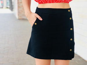 Button Front Mini Skirt - Black