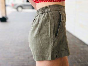 Olive Pocket Shorts