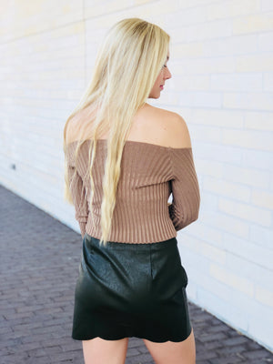 Ribbed Knit Off The Shoulder Top - Taupe