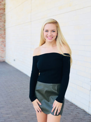 Ribbed Knit Off The Shoulder Top - Black
