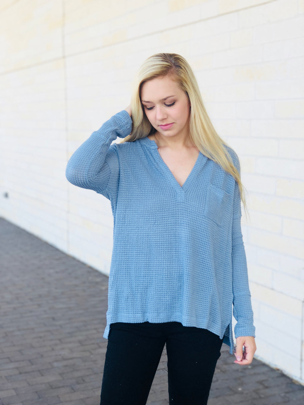 Waffle Knit V-Neck Thermal Top