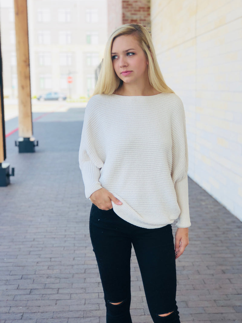 Dolman Sleeve Chenille Sweater
