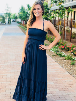 Navy Ruffle Maxi Dress