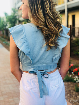 Chambray Ruffle Crop Top
