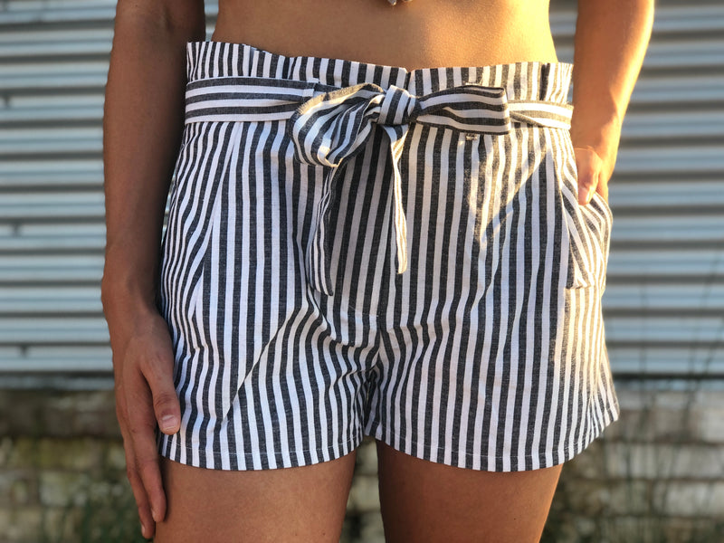 Charcoal Stripe Tie Shorts