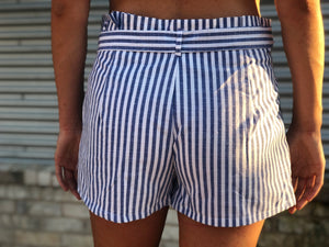 Navy Stripe Tie Shorts