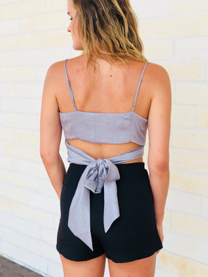 Metallic Crossover Tie Back Crop