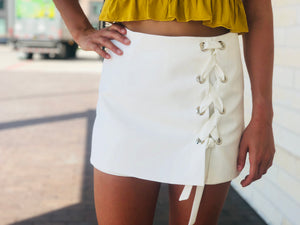Off White Lace Up Skort