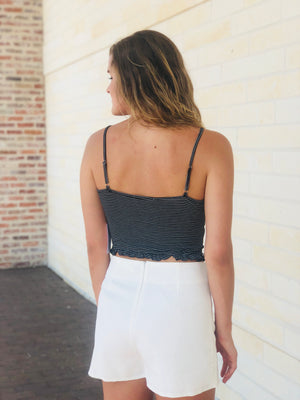 Black Striped Tie Crop