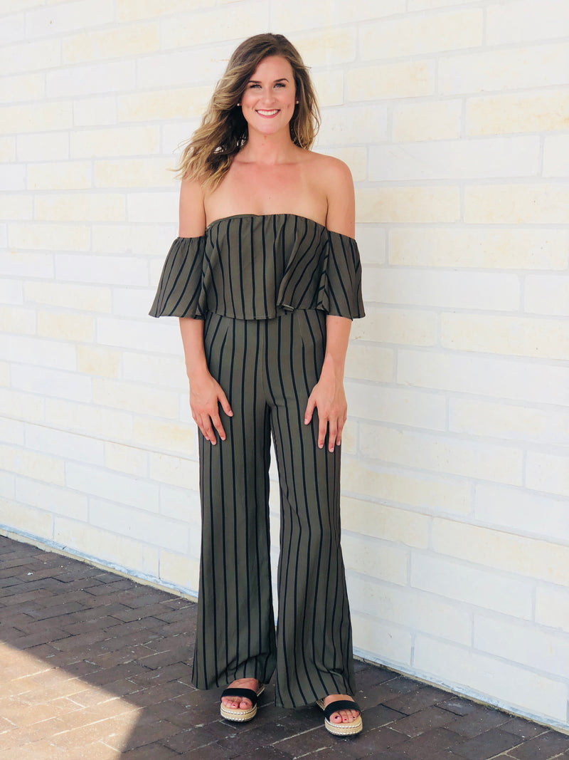 Olive & Black Striped Jumpsuit