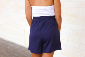 Navy High Waisted Shorts