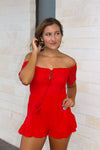 The Noelle Romper - Bright Red