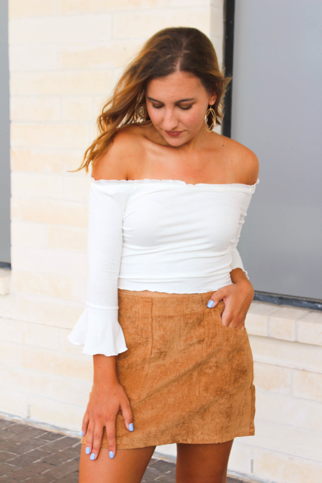 Off The Shoulder Ruffled Shirt - White