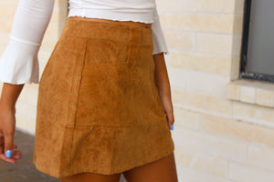 Corduroy Pocket Skirt - Camel