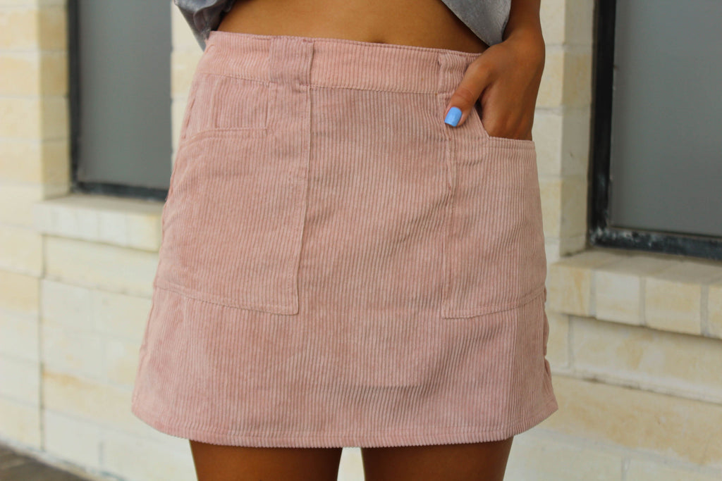 Corduroy Pocket Skirt - Mauve