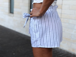 Stripe Tie Shorts - White