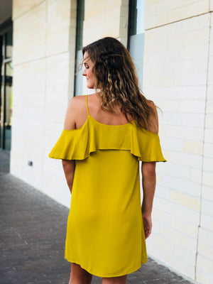 Mustard Open Shoulder Dress